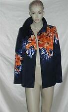 Ellen Tracy Ink Blue Orange Abstract Floral Swing Cotton Jacket 6