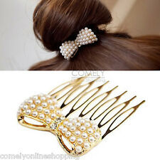 Fashion Women Rhinestone Pearl Bead Bow Gold Hair Comb Clip Hairpins Bun Maker