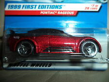 HOT WHEELS PONTIAC RAGEOUS 1999 FIRST EDITIONS 7/26 NOC 3SP WHEEL 1:64