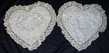 CHARMING PAIR FRENCH NORMANDY LACE BOUDOIR PILLOW HEART SHAPED PATCHWORK