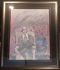 "Peter Max ""Seated Man"" Hand Signed 1981 Serigraph, Custom Framed, Make an Offer!"