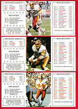 1982 NFL Washington Redskins Frito Lay Pocket Schedules - 8 Different - Riggins