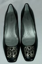 TAHARI DACIA LOW HEEL PUMP JEWELED BLACK DRESS SHOES SZ 8.5 M - NEW!!!