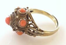 Vtg Chinese Sterling Silver Filigree Red Coral Dome Ring Antique Gold Vermeil