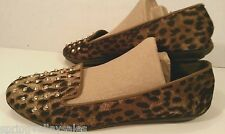Cupcake Couture Shoes Loafer Slipper Flats Leopard Animal Print Studs Women 4 M