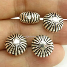14954*15PCS Silver Vintage Oblate 11mm Spacer Beads Carve Wave Alloy Antique