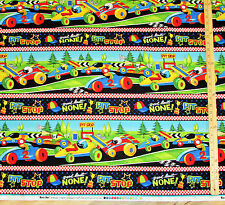 Race Day Race Track Race Car Pit Stop Sampler Fabric by the 1/2 Yard   #65171