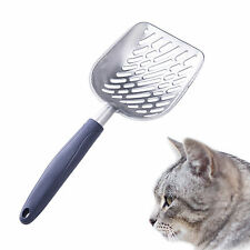 Metal Cat Litter Scoop w/ Deep Shovel & Long Holder for Cat Owners Grey/Blue