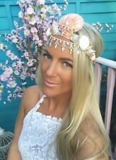 Gold Diamond Coral Sea Shell Crown Hair Head Band Choochie Choo Beach Hippy Boho