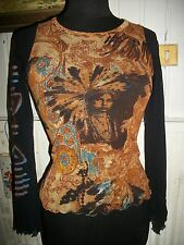 Tee shirt manche longue voile stretch marron SAVE THE QUEEN M 36/38 INDIEN