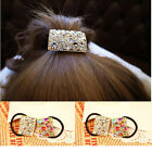 Women Crystal Rhinestone Hair Band Rope Elastic Ponytail Holder Colorful