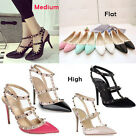 Women Pointed Toe Studded Ankle Strap Stiletto Rivet Prom Court Shoes Heels Flat