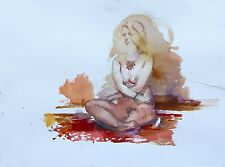 Watercolor Painting Nude Female Figure Model by Artist Keith Gunderson