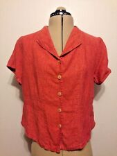 FLAX Linen Burnt Orange Button Down Crop Shirt Size Small 4 - 6