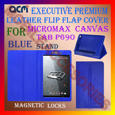 ACM-EXECUTIVE LEATHER FLIP CASE for MICROMAX CANVAS TAB P690 COVER STAND - BLUE