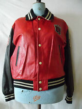 Blouson Teddy Redskins cuir rouge vintage  Jacket red leather Redskins