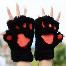A Good Gift For Lovers Chic Fingerless Gloves Thickening Fluffy Bear's-Paw Glove