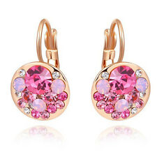 Classic 18k Rose gold gp Rose Red Swarovski crystal Exquisite Round Earring