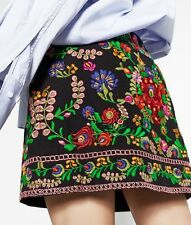 ZARA Embroidered Mini Skirt Floral Boho Size S Ref.1381/242 NWT
