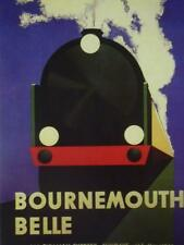 Vintage Steam Train Poster travel A3 Southern railway BOURNEMOUTH BELLE Art Deco
