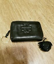 TORY BURCH Small Black Leather Zip Around Wallet with key ring