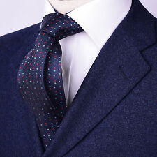 """Mens Navy Blue Skinny Tie Floral Paisley 3"""" Christmas Sexy Woven Luxury Fashion"""