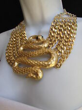 Women Bib Gold Metal Chains Fashion Indian 3D Snake Wide Necklace Earring Set