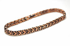 LADIES 10.75 INCH HEALING MAGNETIC LINK ANKLET: Loving Copper Hearts; 4 Pain!