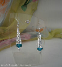 Chic Silvertone Filigree Cone Jade Green Rondelle Crystal Bead Pierced Earrings