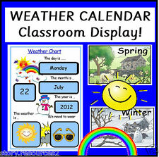 WEATHER CHART Calendar Teaching Resources Class Display Childminder EYFS  KS1  2