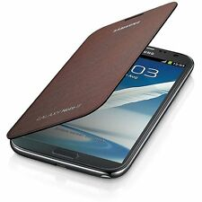 Samsung Flip Custodia Cover Premium per Galaxy Note 2 N7100 - Ambra Marrone
