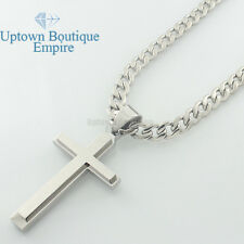 "24-36"" men stainless steel Plain Silver Gold cross pendant cuban Necklace Chain"