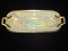 M & Z Austria Relish Dish Plate Mother of Pearl Pearlescent w/ Gold Trim Luster