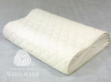 Contoured Latex Pillow + Washable Organic Cotton Wool Protector 60x40x12/10cm