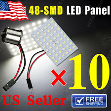 10 X White 48-SMD Panel Dome Map Interior Light Lamp+ BA15S 1156 Adapter DC 12V