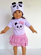 "Panda Skirt Set Hat 18"" doll clothes fits American Girl AG"