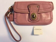 Coach Pink 65th Anniversary Legacy Rose Leather Wristlet Wallet Coach Vachetta