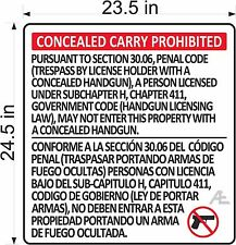 "Texas Handgun Sign Law Compliance Concealed Handgun 30.06 (23.5""X24.5"")"