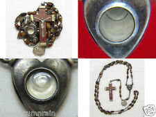 "† SCARCE VINTAGE ""LOURDES HEALING RELIC"" WATER INTACT BROWN AGATE GLASS ROSARY †"
