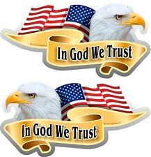 "Two 2""x 4"" American Flag Eagle In God We Trust Decals Stickers Mirrored 906.2M"