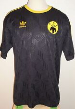 VTG ADIDAS GREECE AEK ATHENS FC BLACK SOCCER JERSEY FOOTBALL SHIRT GREEK RARE 10