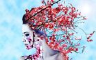 "oil painting handpainted on canvas"" plum blossom on a woman's head"" NO1458"