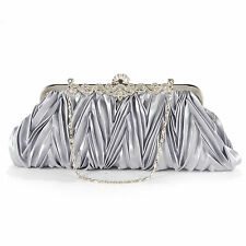 Women Pleated Crystal Wedding Bridal Evening Party Prom Clutch Purse Bag Handbag