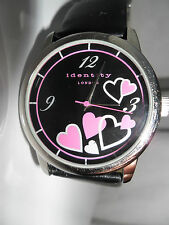 PURPLE HEARTS WATCH BLACK FACE IDENTITY LONDON RETRO HIPPY WRISTWATCH LADIES BA6
