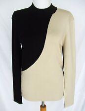CELINE BLACK BEIGE KNIT SWEATER DRESS TOP NEW