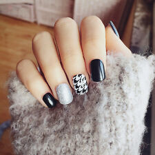 24pcs Black and White Classic Houndstooth Short fake false nail tip sticker gule