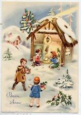 Bambini adorano Gesù bambino Cometa Paesaggio di Neve Buon Anno PC Circa 1950