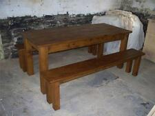 (any size made) SOLID WOODEN DINING TABLE & BENCHES CHUNKY RUSTIC PLANK PINE