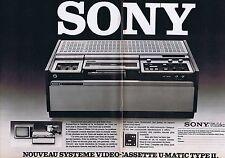 PUBLICITE ADVERTISING 114 1978 SONY nouveau système vidéo cassette (2 pages)