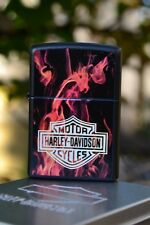 Zippo Lighter - Harley Davidson - Harley On Fire - Bar and Shield Flames - 21040